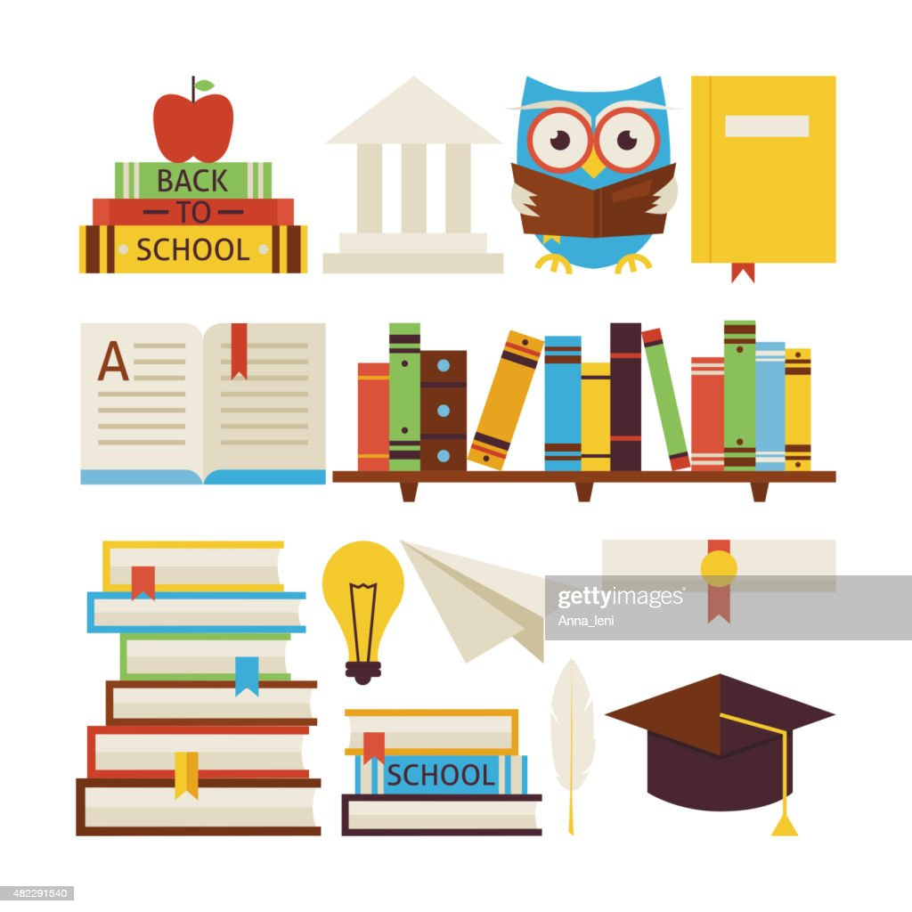 Flat Style Vector Collection of Books Education and Knowledge Ob