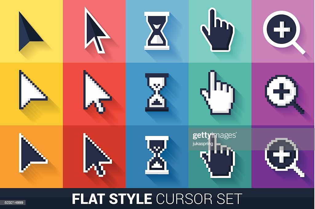 Flat style vector cursors with long shadow