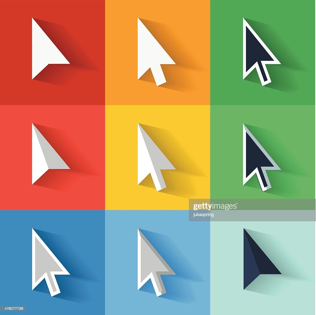 Flat style vector cursors with long shadows, on colorful background