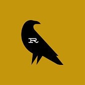 Flat style vector logo mark template or icon of raven