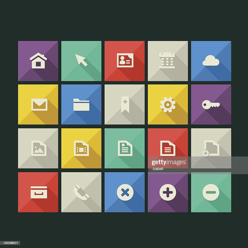 Flat style web icons