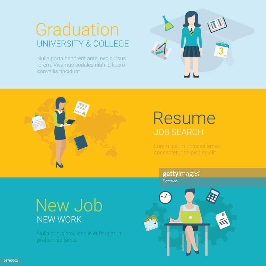 Flat Style Website Slider Banner Career Concept Web Infographics Graduation College University Resume Job Search New Job Workplace Female Conceptual Vector Illustration High Res Vector Graphic Getty Images