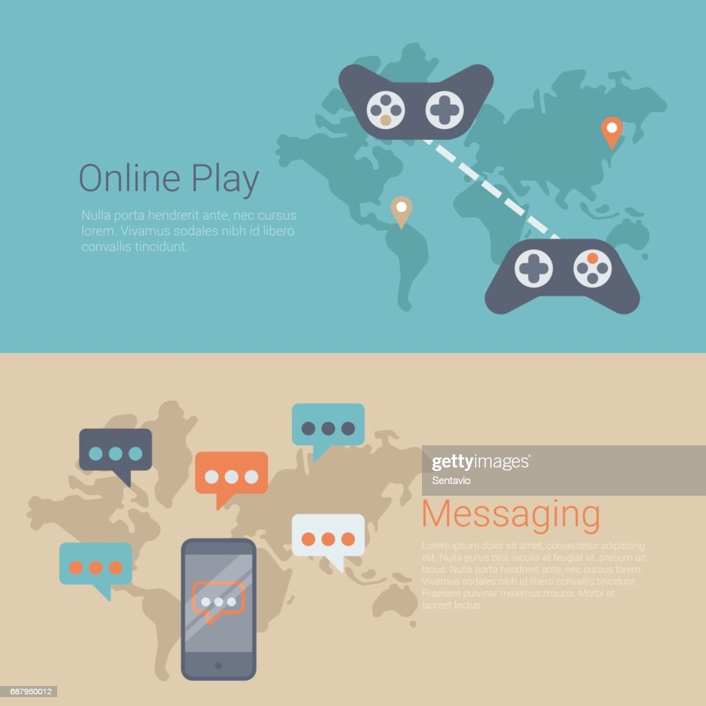 Flat style website slider banner online gaming play messaging flat style website slider banner online gaming play messaging concept web infographics world map connected gamepads smartphone messages vector gumiabroncs Images
