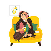 Flat style woman having flu, wrapped in blanket