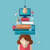 Flat stylish design for education concept. Young girl with books