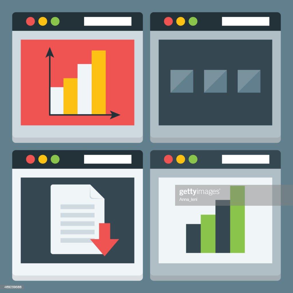 Flat Stylized Web Page Icons Set