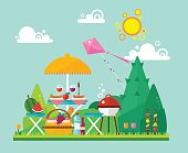 Flat summer picnic landscape: umbrella, basket with food, fruits, barbecue