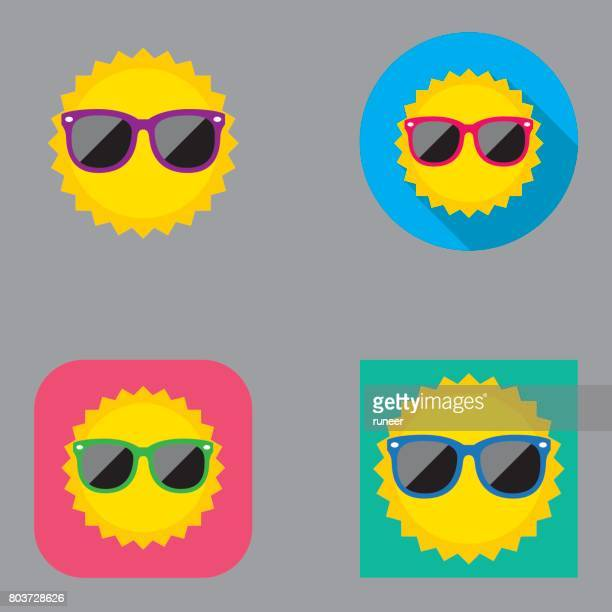 flat summer sun icons | kalaful series - sunglasses stock illustrations, clip art, cartoons, & icons