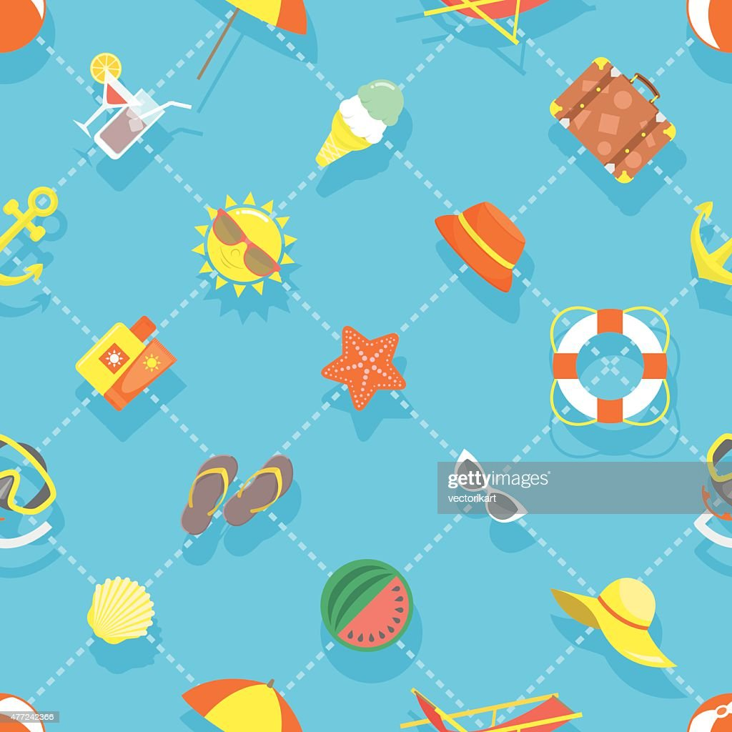 Flat Summer Vacation Beach Icons Seamless Background Pattern