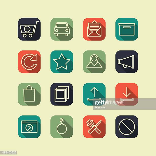 flat superlight interface icon set - crossed out stock illustrations