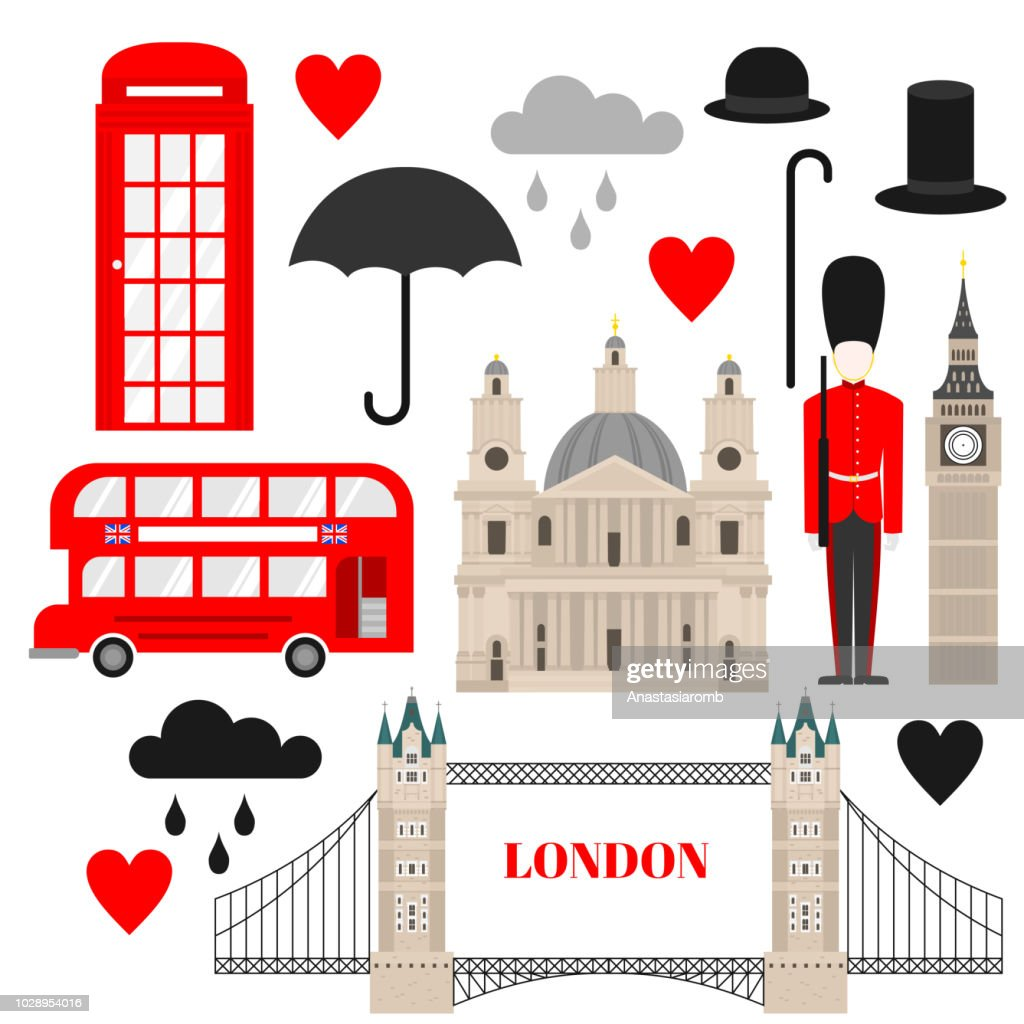 Flat symbol United Kingdom, London travel icon landmark. City architecture England. Great Britain travel sightseeing