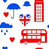Flat symbol United Kingdom, London travel icon landmark seamless pattern