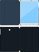 Flat tablet pc cases. Opened inside, outside