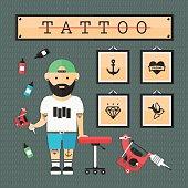 Flat tattoo artist
