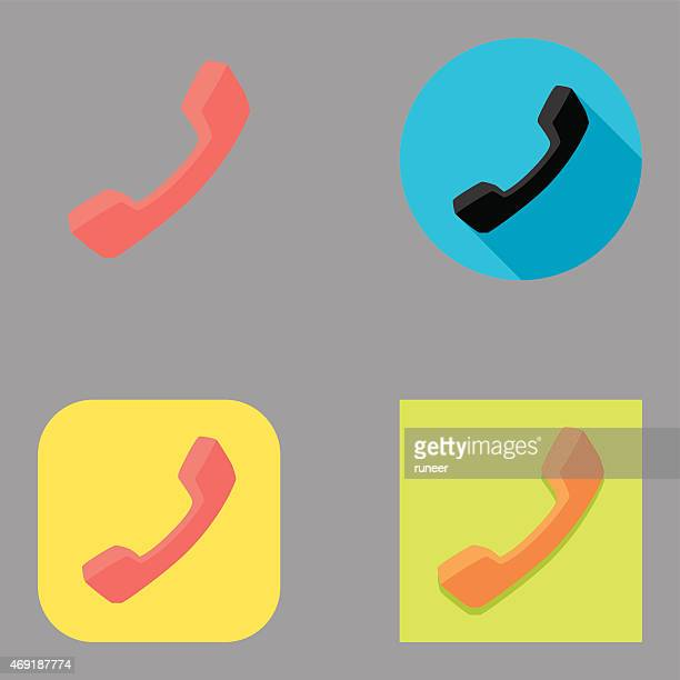 flat telephone handset icons   kalaful series - telephone receiver stock illustrations