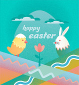 flat abstract textured easter illustration with