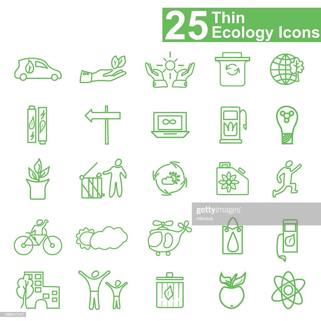Flat thin line ecology icons