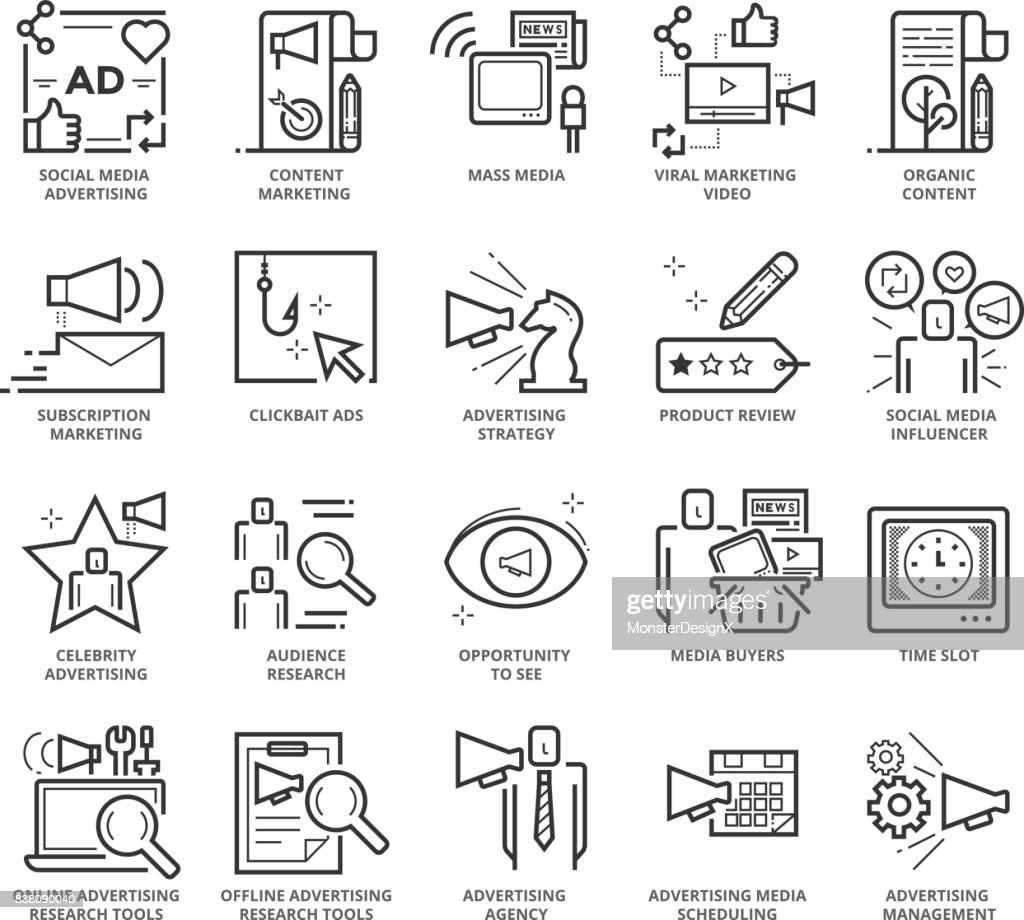 Flat thin line Icons set of Advertising and Communication