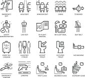 Flat thin line Icons set of Airplane Area and Airport Services