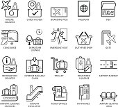 Flat thin line Icons set of Airport Area and Items