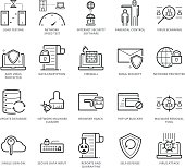 Flat thin line Icons set of Anti Virus and Network Security for Web Development. Pixel Perfect Icons. Simple mono linear pictogram pack stroke vector symbol concept for web graphics.