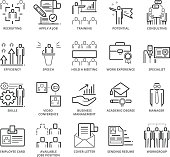 Flat thin line Icons set of Business and Jobs