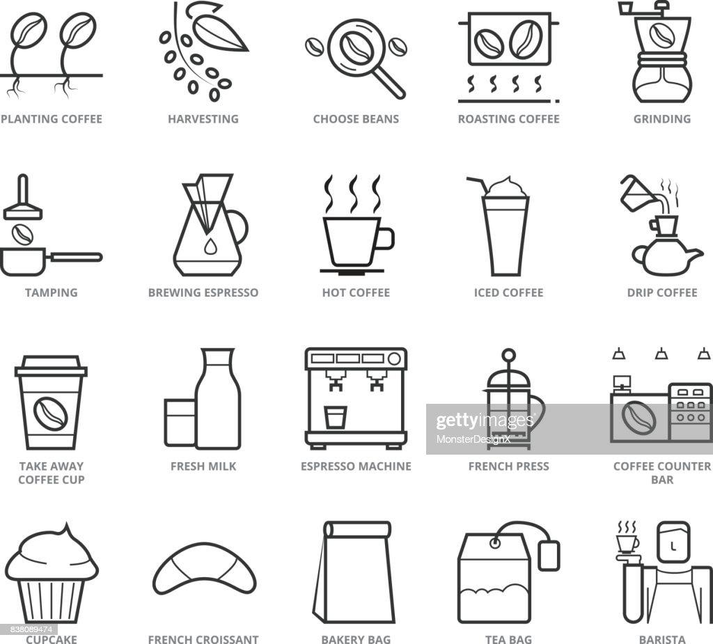 Flat thin line Icons set of Coffee Shop