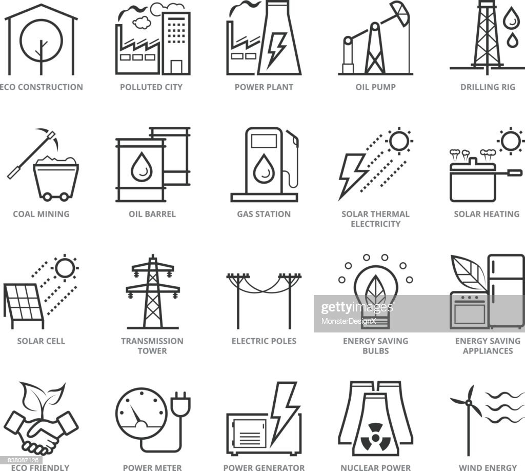 Flat thin line Icons set of Energy and Industry