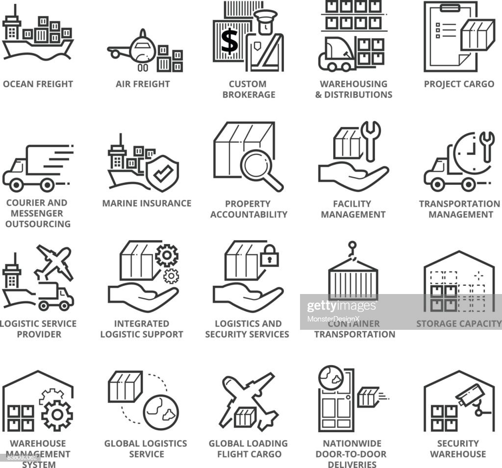 Flat thin line Icons set of International Logistic