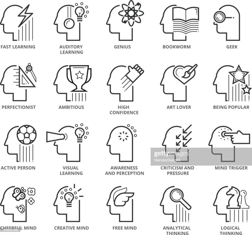 Flat thin line Icons set of Traits and Skills