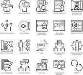 Flat thin line Icons set of UX Design And Web Development