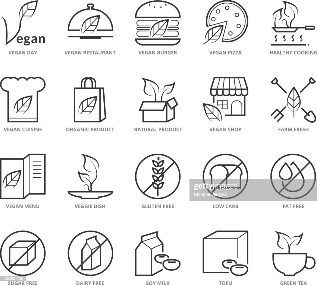 Flat thin line Icons set of Vegan and Healthy Food