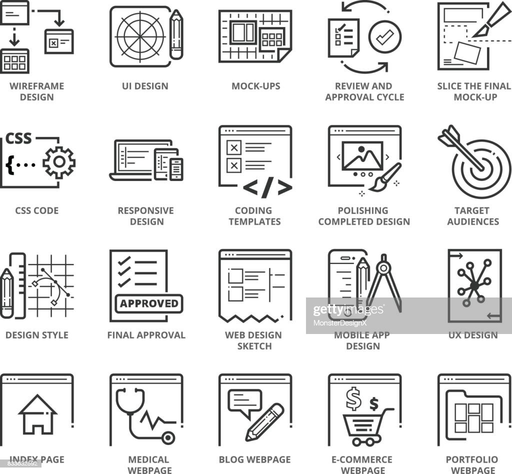 Flat thin line Icons set of Web Design and Websites
