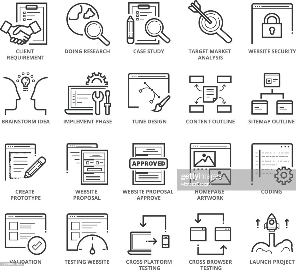 Flat thin line Icons set of Web Development