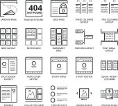 Flat thin line Icons set of Website and Application Layout