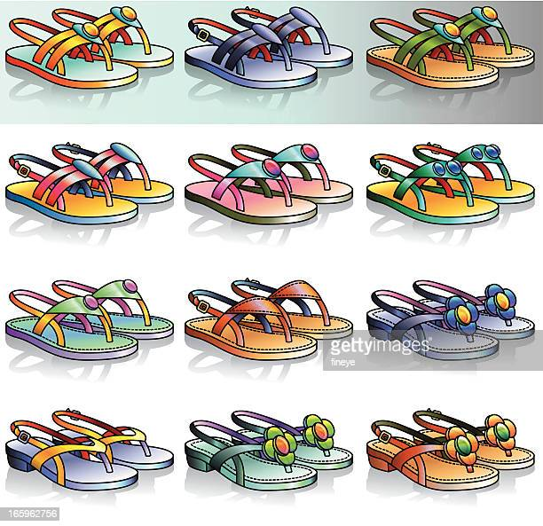 flat thong sandals icon set - sandal stock illustrations, clip art, cartoons, & icons
