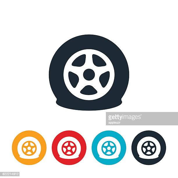 flat tire icon - flach stock-grafiken, -clipart, -cartoons und -symbole