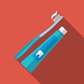 Flat tooth brush and paste icon, long shadow, vector illustration
