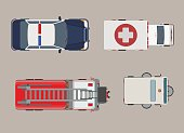 Flat Top view police, ambulance, fire engine auto vector illustration set. City vehicle service and specialized transport collection.