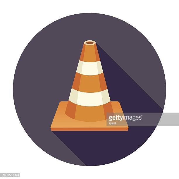 flat traffic cone icon - cone shape stock illustrations