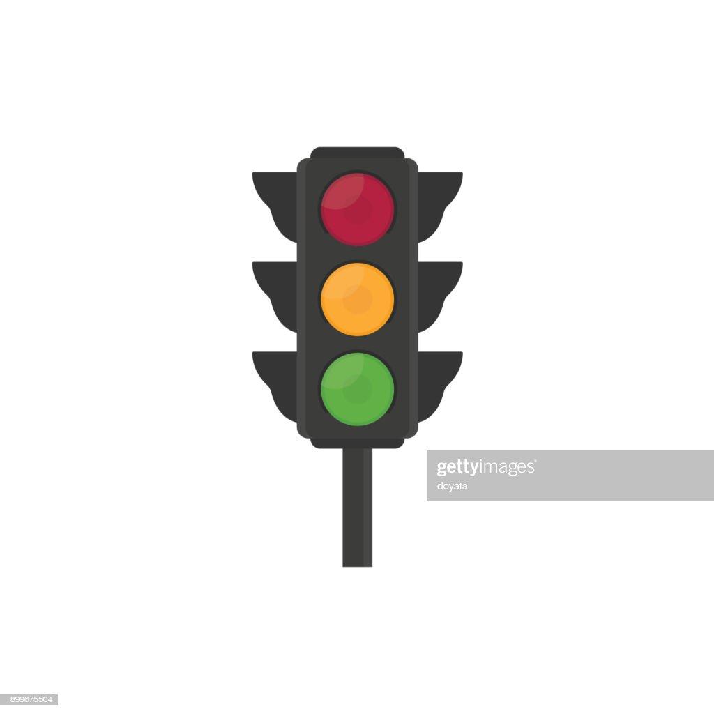 Flat traffic light illustration