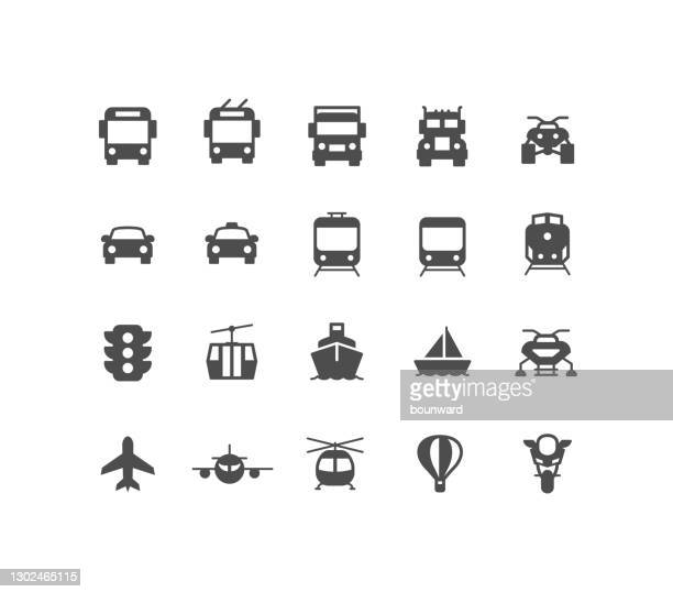 flat transportation icons - front view stock illustrations