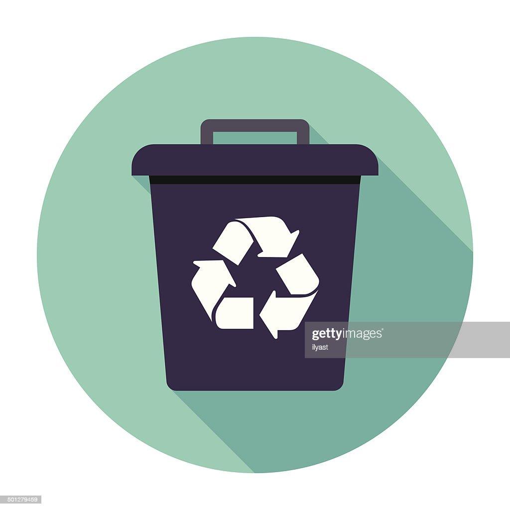 Flat Trash Can Icon