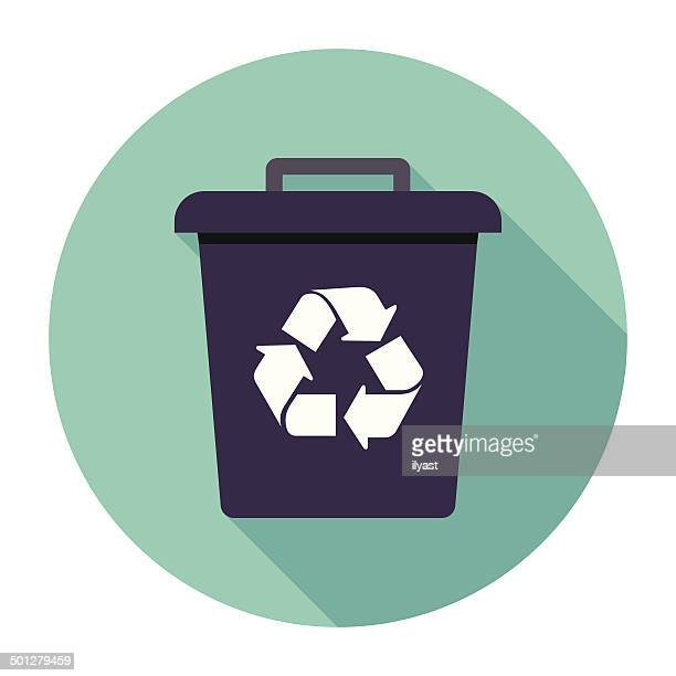 flat trash can icon - wastepaper basket stock illustrations, clip art, cartoons, & icons