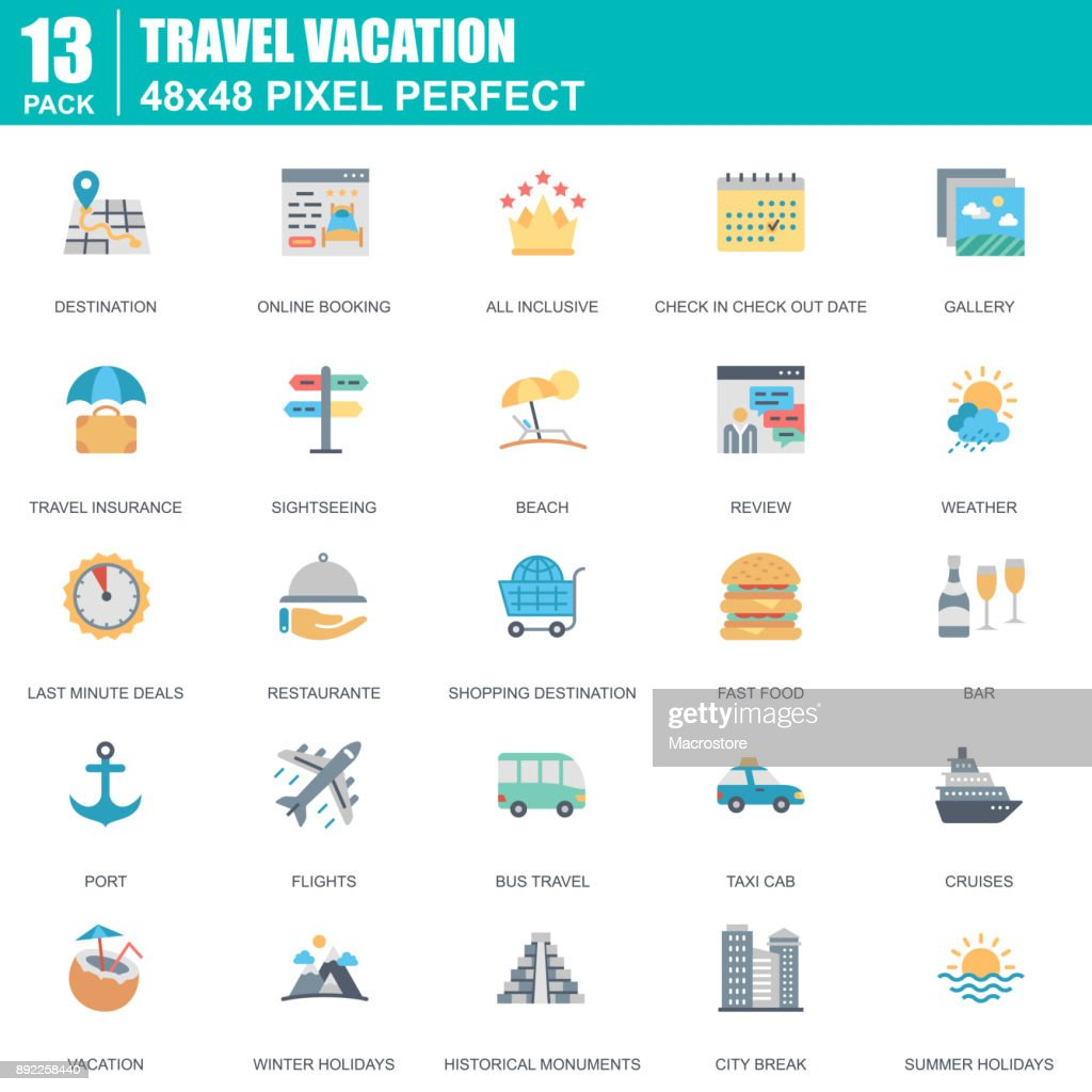 Flat travel and tourism, for travel agencies icons set for website