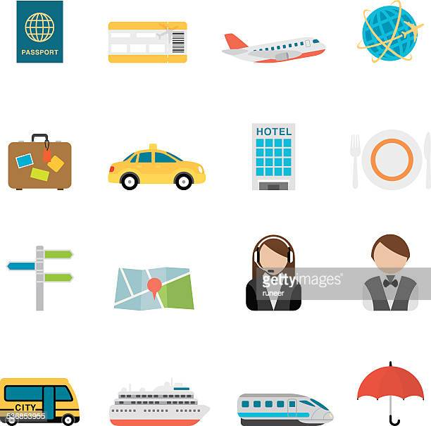 Flat Travel & Tourism icons | Simpletoon series