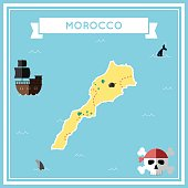 Flat treasure map of Morocco.