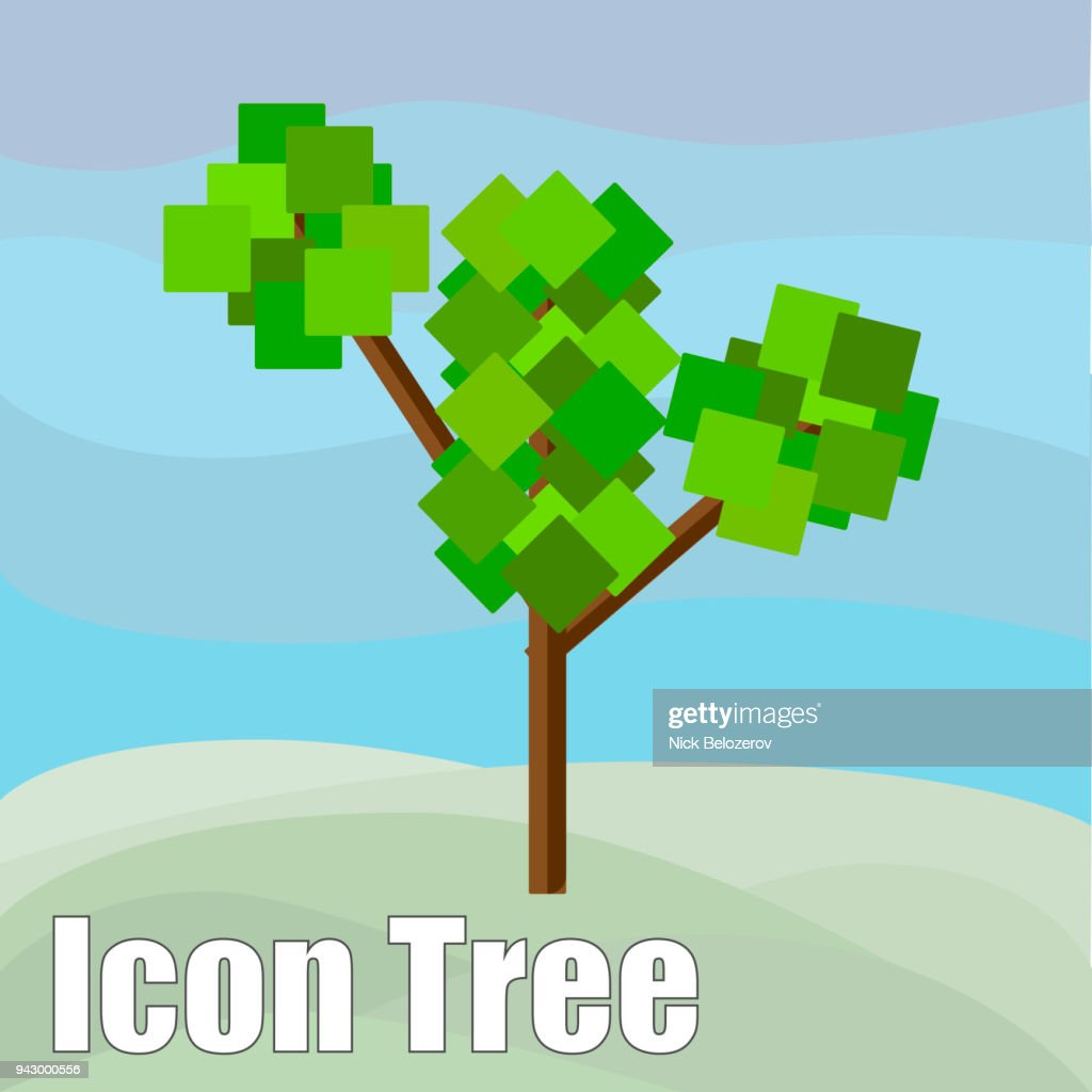 Flat tree icon. Collection of design elements for games, cartoons, illustrations and so on