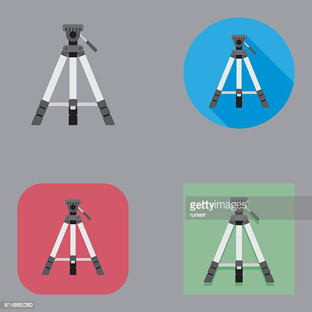 flat tripod icons | kalaful series - camera tripod stock illustrations, clip art, cartoons, & icons