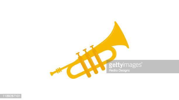 flat trumpet icon - trumpet stock illustrations